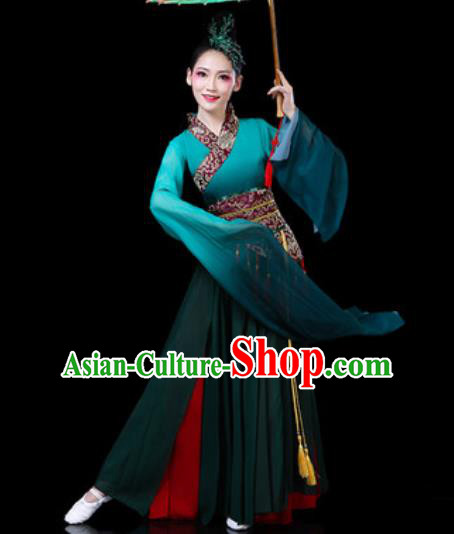 Chinese Classical Dance Costumes Traditional Umbrella Dance Group Dance Atrovirens Dress for Women