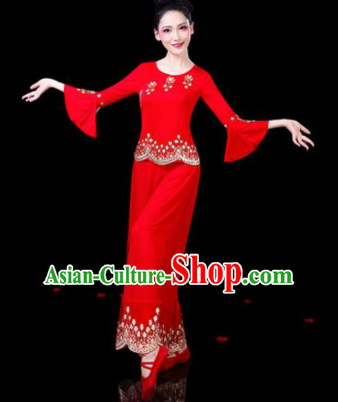 Chinese Traditional Folk Dance Costumes Fan Dance Yangko Group Dance Red Clothing for Women