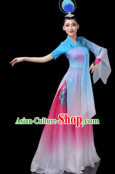 Chinese Traditional Classical Dance Costumes Fan Dance Group Dance Blue Dress for Women