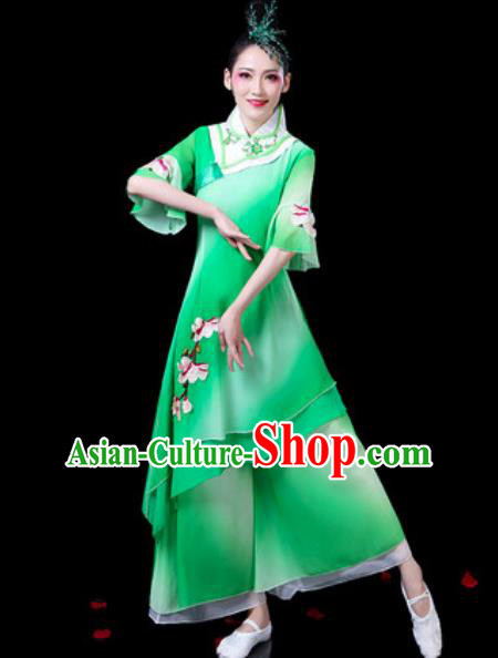 Chinese Classical Dance Costumes Traditional Umbrella Dance Lotus Dance Green Dress for Women