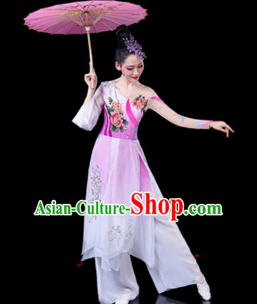Chinese Classical Dance Umbrella Dance Costumes Traditional Lotus Dance Pink Dress for Women