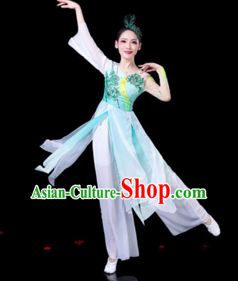Chinese Classical Dance Umbrella Dance Costumes Traditional Lotus Dance Light Blue Dress for Women