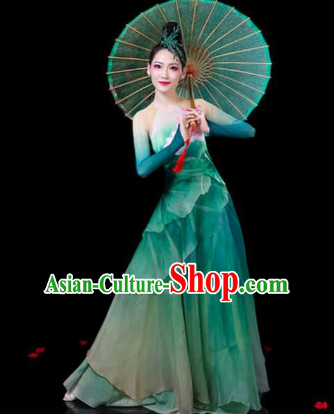 Chinese Classical Dance Umbrella Dance Costumes Traditional Lotus Dance Green Dress for Women