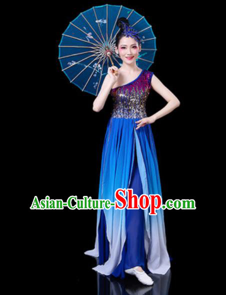 Chinese Classical Fan Dance Costumes Traditional Chorus Umbrella Dance Royalblue Dress for Women