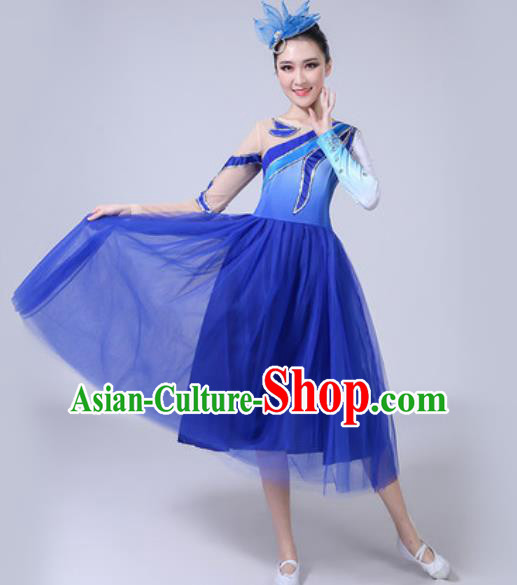 Top Grade Stage Show Chorus Costumes Modern Dance Group Dance Royalblue Dress for Women