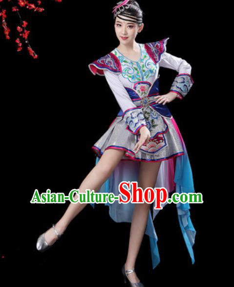 Chinese Ethnic Costumes Traditional Mongolian Nationality Folk Dance Short Dress for Women