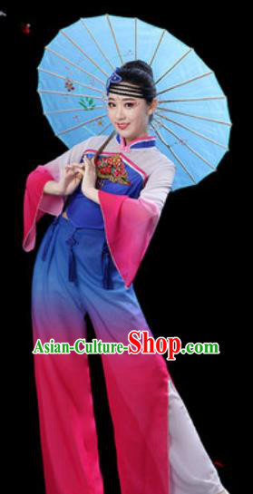 Chinese Folk Dance Yangko Dance Costumes Traditional Drum Dance Fan Dance Clothing for Women