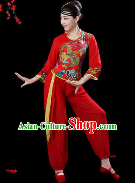 Traditional Chinese Folk Dance Drum Dance Costumes Fan Dance Yangko Red Clothing for Women