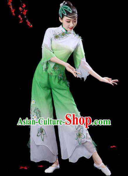 Traditional Chinese Folk Dance Drum Dance Costumes Fan Dance Yangko Green Clothing for Women