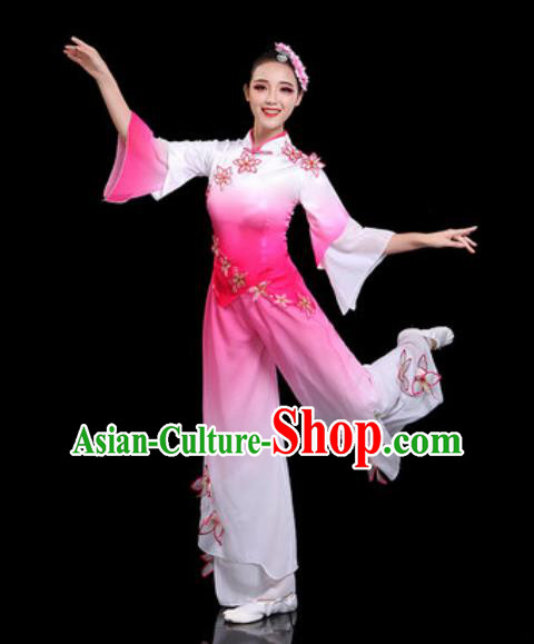 Traditional Chinese Folk Dance Drum Dance Costumes Fan Dance Yangko Pink Clothing for Women
