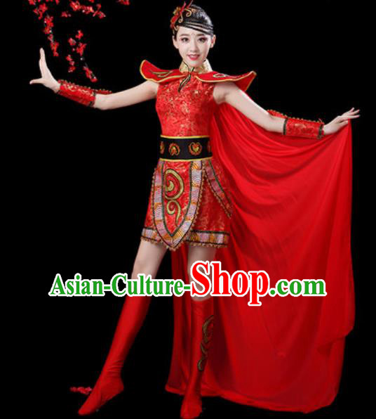 Traditional Chinese Folk Dance Waist Drum Dance Costumes Fan Dance Yangko Red Clothing for Women