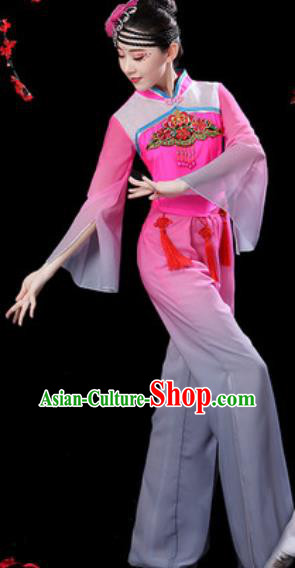 Chinese Folk Dance Yangko Dance Costumes Traditional Drum Dance Fan Dance Pink Clothing for Women