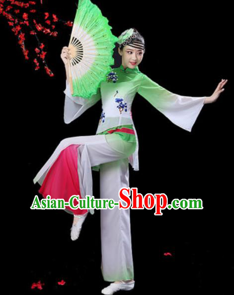 Chinese Folk Dance Yangko Dance Costumes Traditional Drum Dance Fan Dance Green Clothing for Women