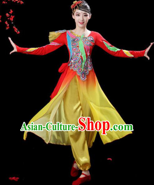 Chinese Folk Dance Drum Dance Costumes Traditional Fan Dance Yangko Clothing for Women