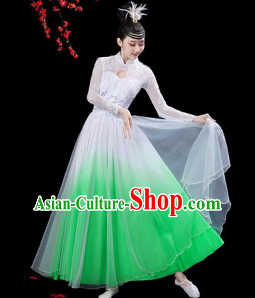 Chinese Classical Dance Chorus Green Dress Traditional Umbrella Dance Fan Dance Costumes for Women