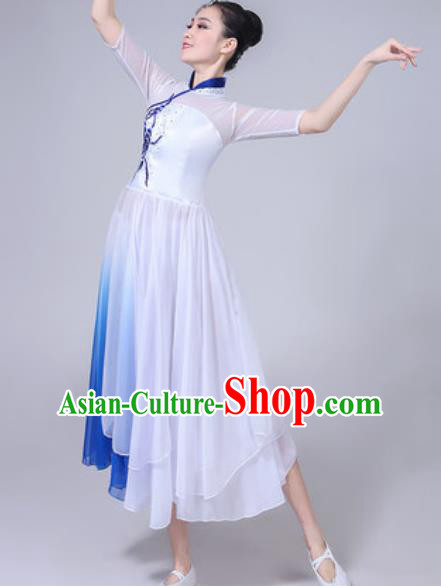 Chinese Classical Dance Chorus White Dress Traditional Umbrella Dance Fan Dance Costumes for Women