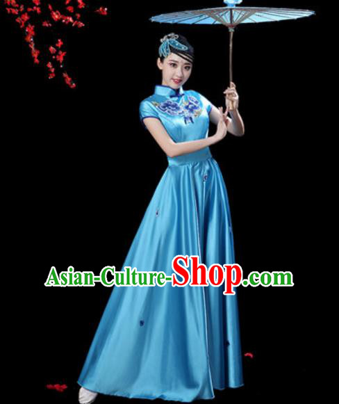 Chinese Classical Dance Chorus Blue Silk Embroidered Dress Traditional Umbrella Dance Fan Dance Costumes for Women