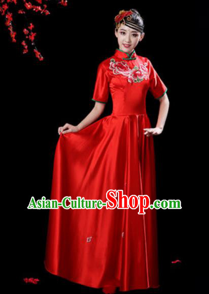 Chinese Classical Dance Chorus Red Silk Embroidered Dress Traditional Umbrella Dance Fan Dance Costumes for Women