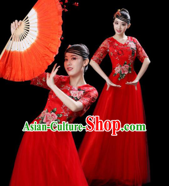 Professional Modern Dance Stage Show Costumes Chorus Group Dance Red Dress for Women