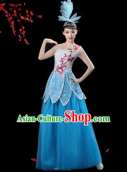 Chinese Classical Dance Blue Veil Dress Traditional Chorus Group Dance Umbrella Dance Costumes for Women