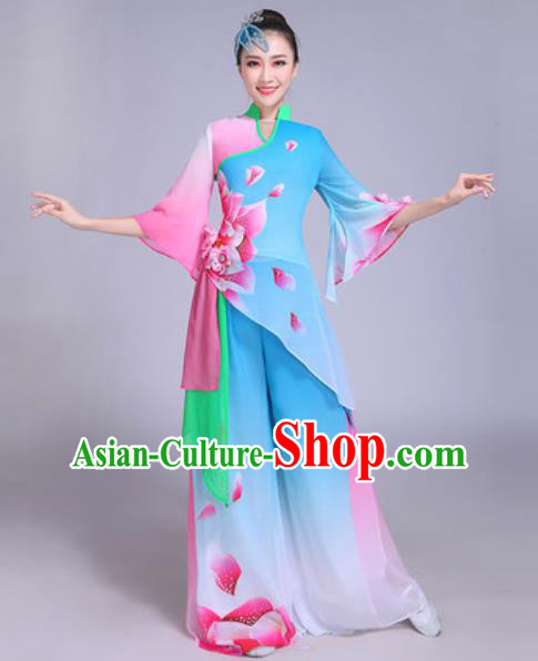Chinese Traditional Yangko Dance Group Dance Costumes Folk Dance Fan Dance Clothing for Women