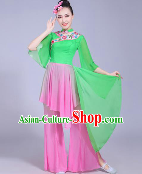 Chinese Traditional Yangko Dance Printing Cranes Costumes Folk Dance Fan Dance Green Clothing for Women