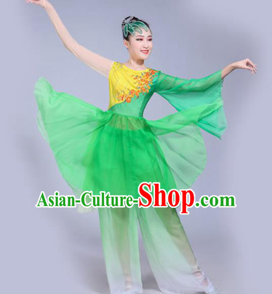 Chinese Traditional Yangko Dance Green Costumes Folk Dance Fan Dance Clothing for Women