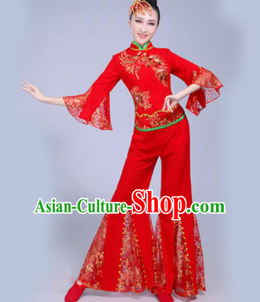 Chinese Traditional Yangko Dance Red Costumes Folk Dance Fan Dance Clothing for Women
