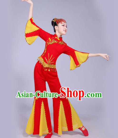 Chinese Traditional Yangko Dance Fan Dance Red Costumes Folk Dance Clothing for Women