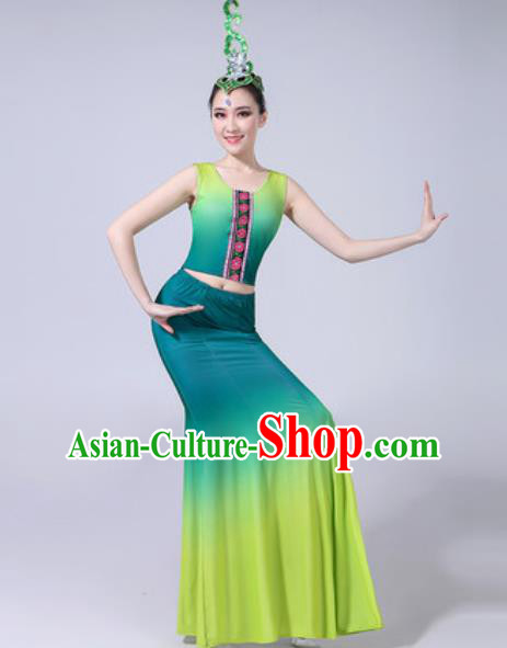 Chinese Ethnic Costumes Traditional Dai Nationality Peacock Dance Folk Dance Gradient Green Dress for Women