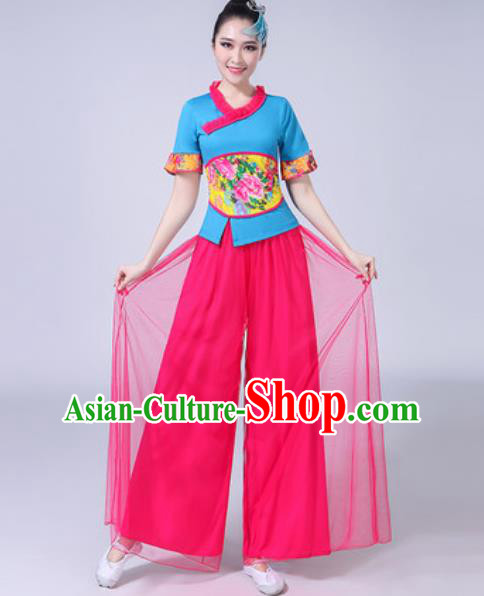 Traditional Chinese Yangko Dance Rosy Veil Costumes Folk Dance Fan Dance Clothing for Women