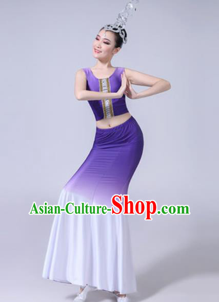 Chinese Ethnic Costumes Traditional Dai Nationality Peacock Dance Folk Dance Gradient Lilac Dress for Women