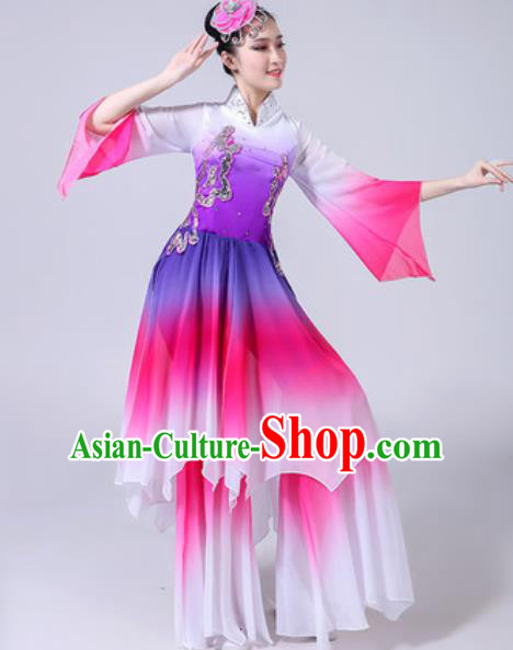 Chinese Classical Dance Costumes Traditional Chorus Group Dance Umbrella Dance Purple Dress for Women