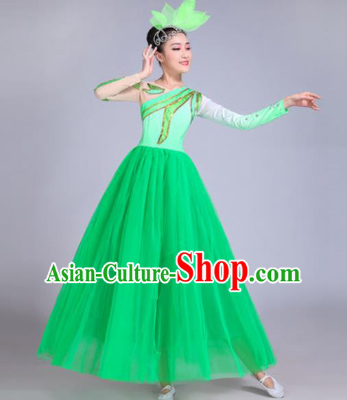 Professional Modern Dance Opening Dance Green Dress Stage Show Chorus Group Dance Costumes for Women