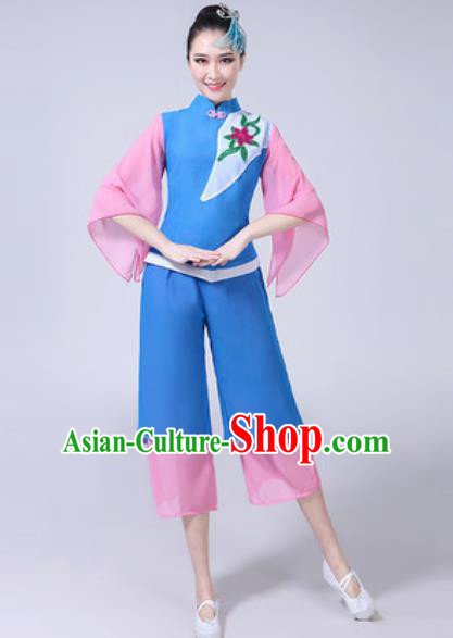 Traditional Chinese Folk Dance Yangko Dance Blue Costumes Fan Dance Clothing for Women