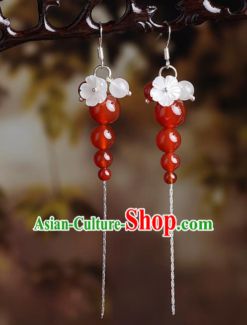 Chinese Traditional Ear Jewelry Accessories National Hanfu Classical Red Beads Earrings for Women