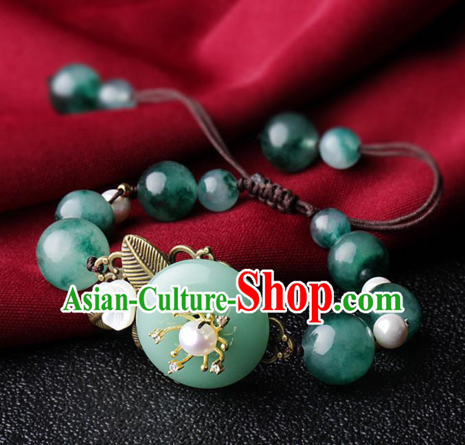 Chinese Traditional Jewelry Accessories National Hanfu Green Agate Bracelet for Women