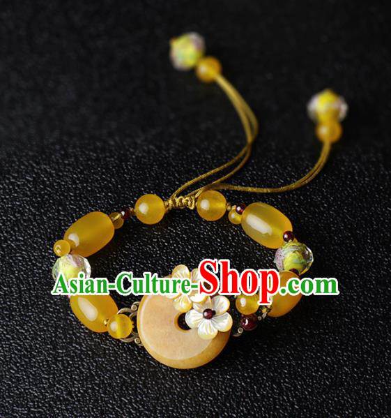 Chinese Traditional Jewelry Accessories National Hanfu Yellow Chalcedony Beads Bracelet for Women