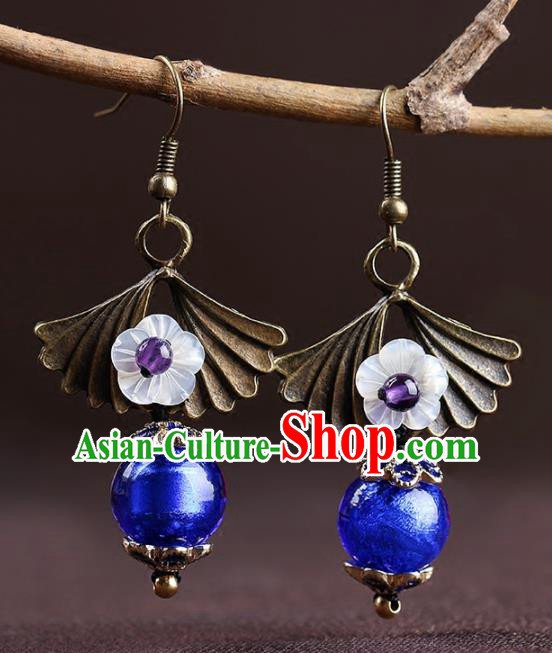 Chinese National Classical Hanfu Blue Bead Earrings Traditional Ear Jewelry Accessories for Women