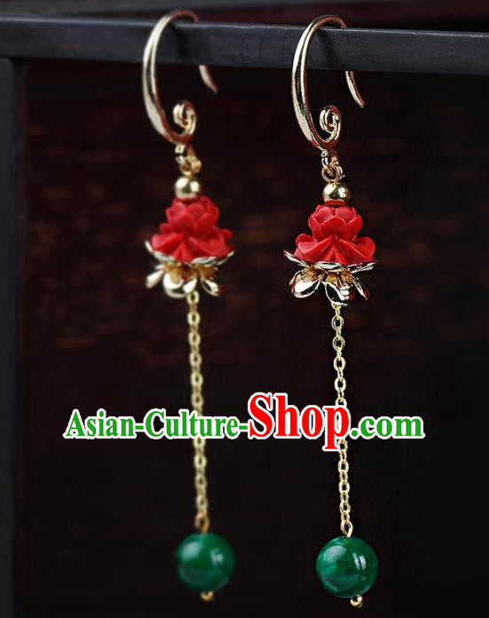 Chinese Yunnan National Classical Carving Lotus Red Earrings Traditional Ear Jewelry Accessories for Women