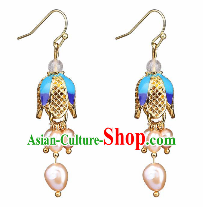 Chinese Yunnan National Classical Pearls Tassel Earrings Traditional Ear Jewelry Accessories for Women