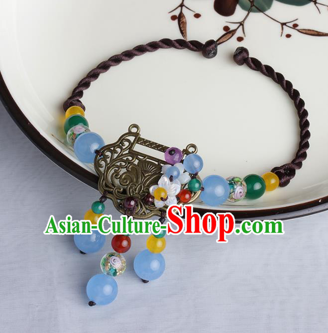 Chinese Traditional Jewelry Accessories National Hanfu Longevity Lock Bracelet for Women