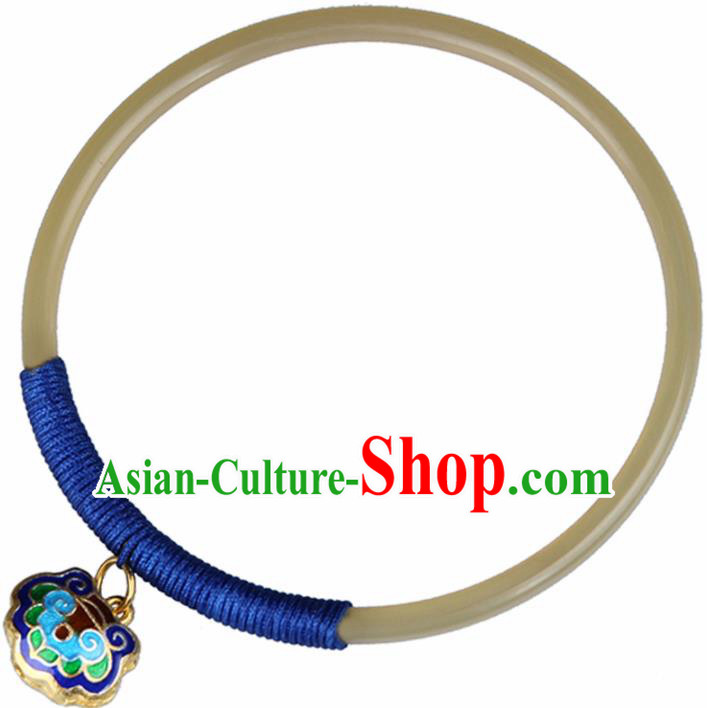 Chinese Traditional Jewelry Accessories National Hanfu Ox Horn Blueing Bracelet for Women
