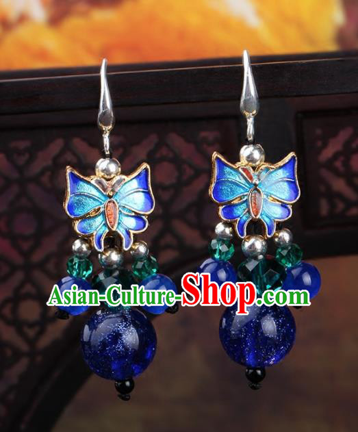 Chinese Yunnan National Classical Blueing Butterfly Earrings Traditional Ear Jewelry Accessories for Women