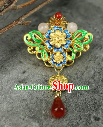 Chinese Traditional Blueing Butterfly Brooch Traditional Classical Hanfu Jewelry Accessories for Women