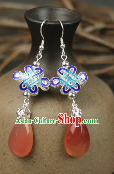 Chinese Handmade Blueing Red Earrings Traditional Classical Hanfu Ear Jewelry Accessories for Women