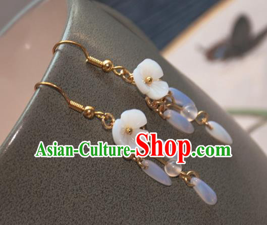 Chinese Ancient Handmade Crystal Tassel Earrings Traditional Classical Hanfu Ear Jewelry Accessories for Women