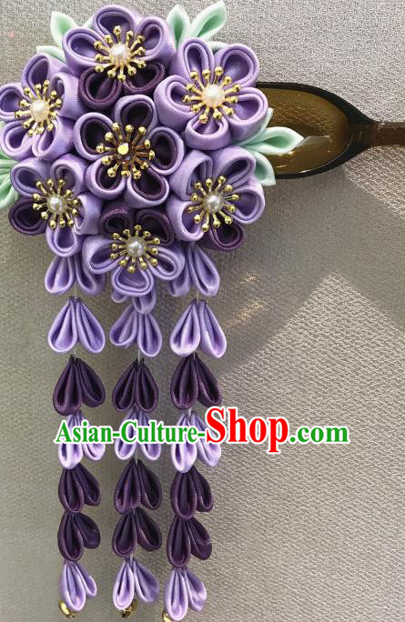 Japanese Traditional Handmade Purple Hair Clips Hairpins Asian Japan Classical Kimono Hair Accessories for Women