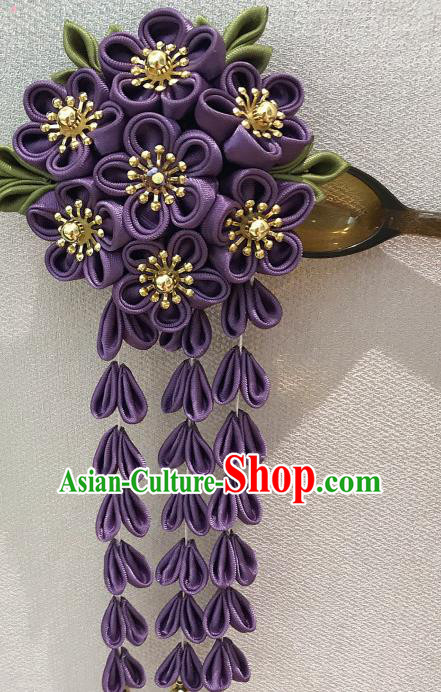 Japanese Traditional Handmade Purple Flowers Tassel Hairpins Asian Japan Classical Kimono Hair Accessories for Women