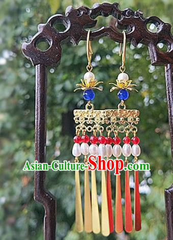Chinese Ancient Handmade Pearls Tassel Earrings Traditional Classical Hanfu Ear Jewelry Accessories for Women